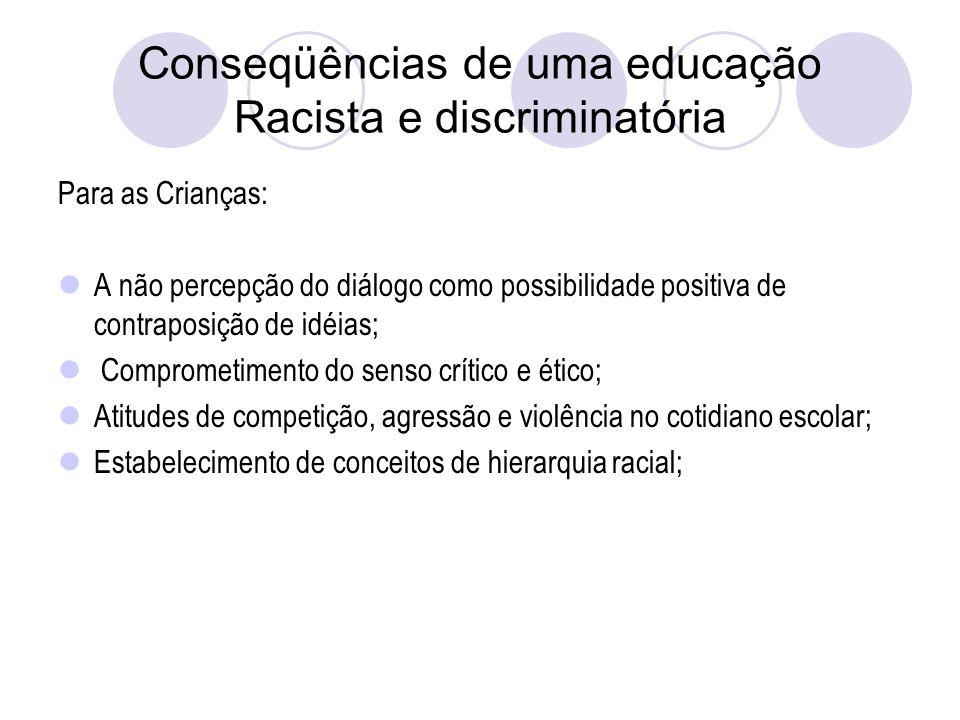Conseqüências de uma educação Racista e discriminatória Para as Crianças: A não percepção do diálogo como possibilidade positiva de contraposição de idéias; Comprometimento do senso crítico e ético; Atitudes de competição, agressão e violência no cotidiano escolar; Estabelecimento de conceitos de hierarquia racial;