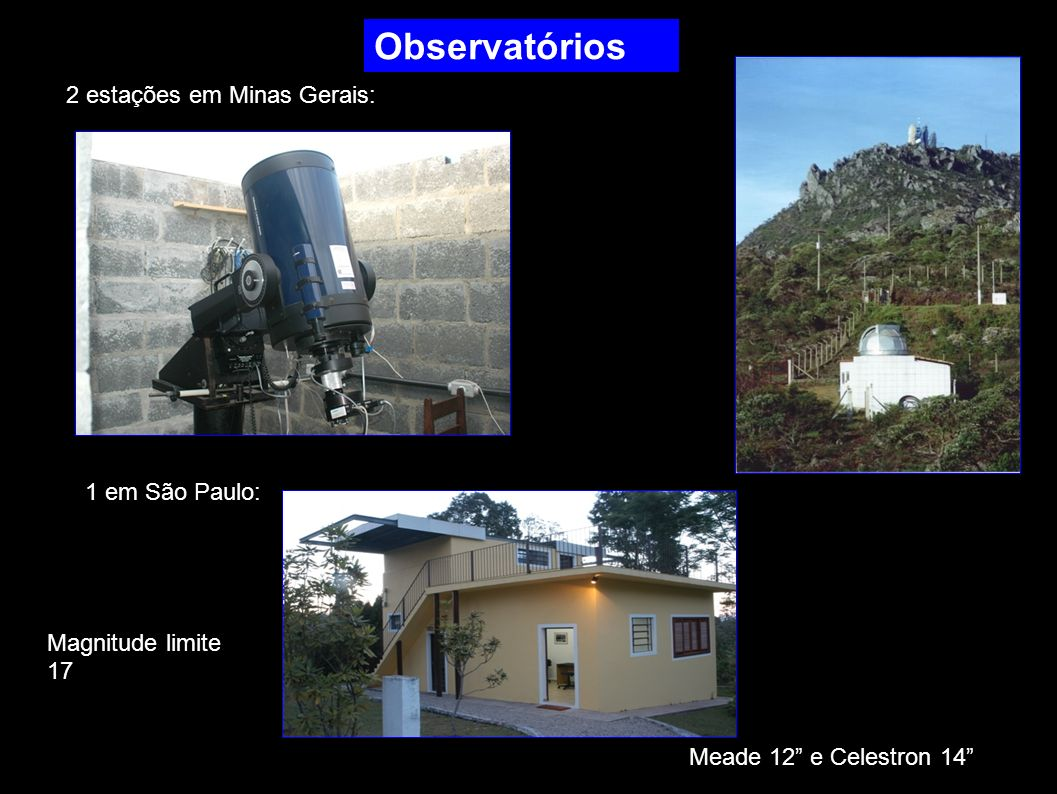 Observatórios 2 estações em Minas Gerais: 1 em São Paulo: Meade 12 e Celestron 14 Magnitude limite 17