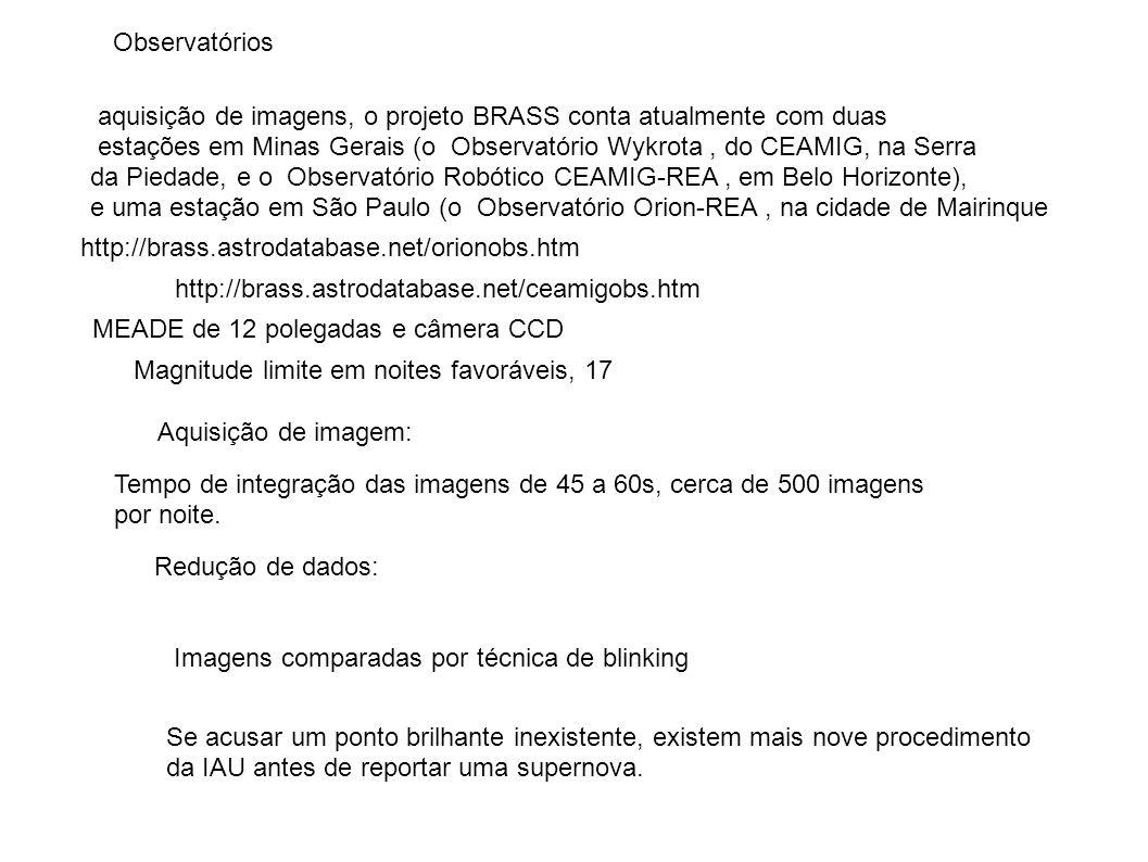 Observatórios aquisição de imagens, o projeto BRASS conta atualmente com duas estações em Minas Gerais (o Observatório Wykrota, do CEAMIG, na Serra da