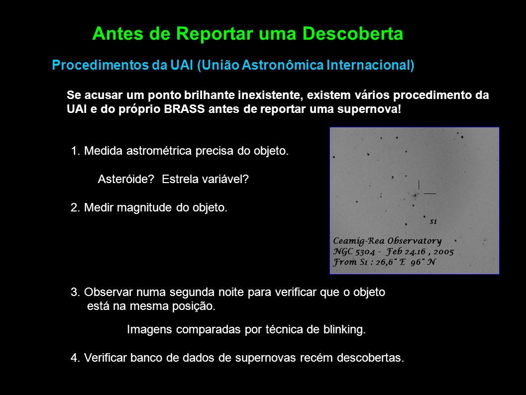 Antes de Reportar uma Descoberta Se acusar um ponto brilhante inexistente, existem vários procedimento da UAI e do próprio BRASS antes de reportar uma