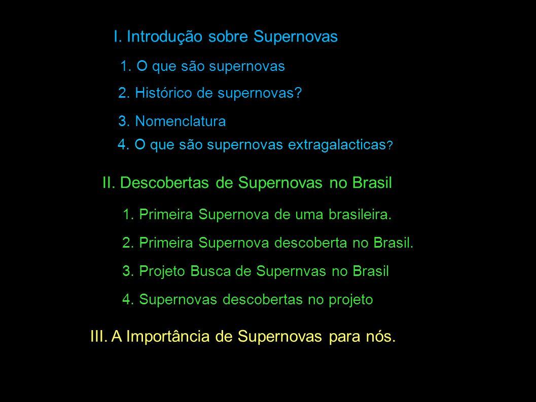 I. Introdução sobre Supernovas 1. O que são supernovas 3. Nomenclatura 1. Primeira Supernova de uma brasileira. 3. Projeto Busca de Supernvas no Brasi