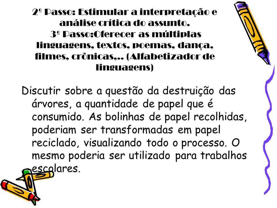 2º Passo: Estimular a interpretação e análise crítica do assunto. 3º Passo:Oferecer as múltiplas linguagens, textos, poemas, dança, filmes, crônicas,.