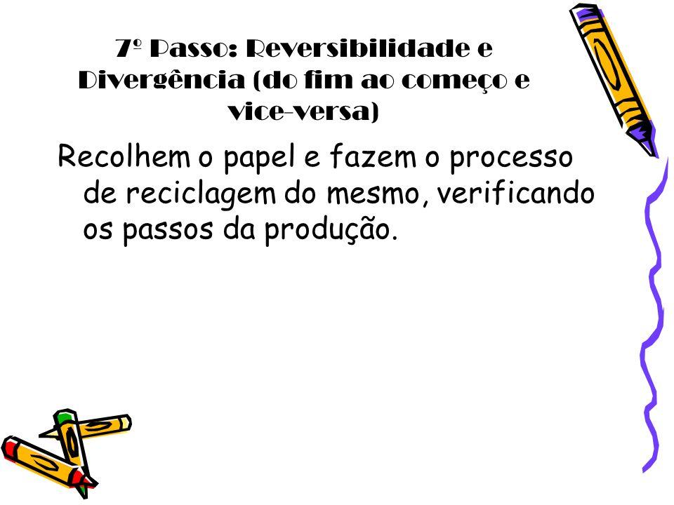 7º Passo: Reversibilidade e Divergência (do fim ao começo e vice-versa) Recolhem o papel e fazem o processo de reciclagem do mesmo, verificando os pas