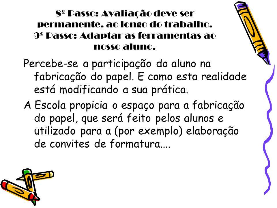 8º Passo: Avaliação deve ser permanente, ao longo do trabalho. 9º Passo: Adaptar as ferramentas ao nosso aluno. Percebe-se a participação do aluno na