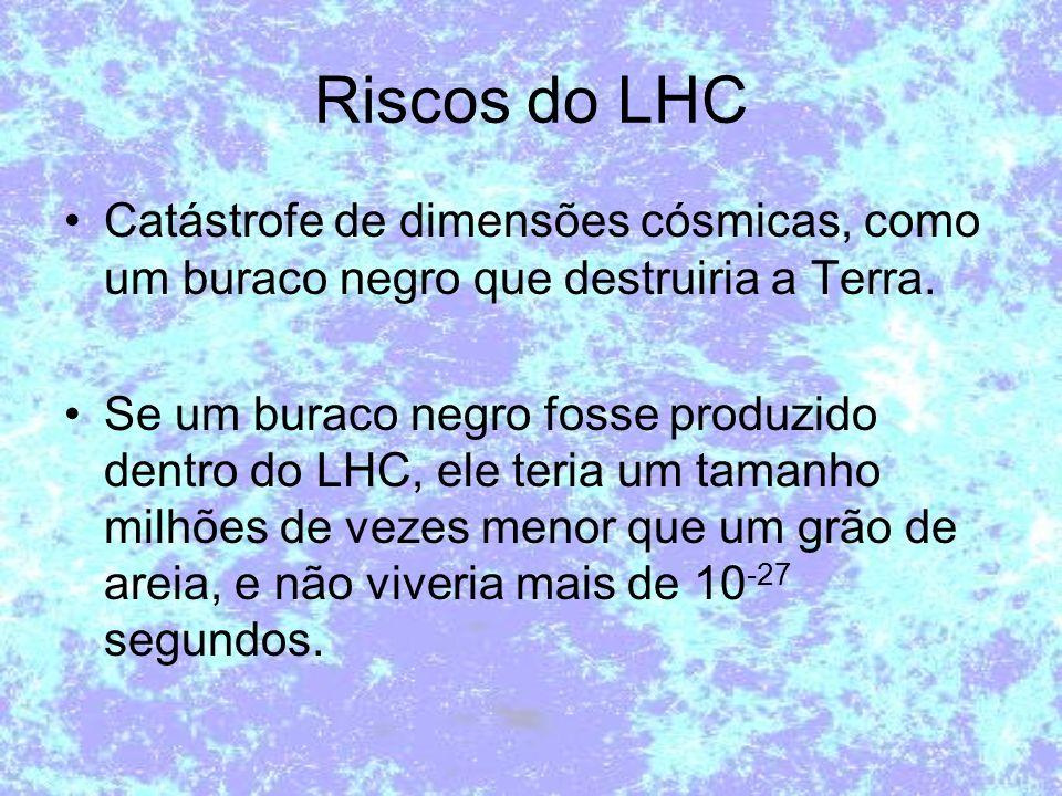 Riscos do LHC Catástrofe de dimensões cósmicas, como um buraco negro que destruiria a Terra. Se um buraco negro fosse produzido dentro do LHC, ele ter