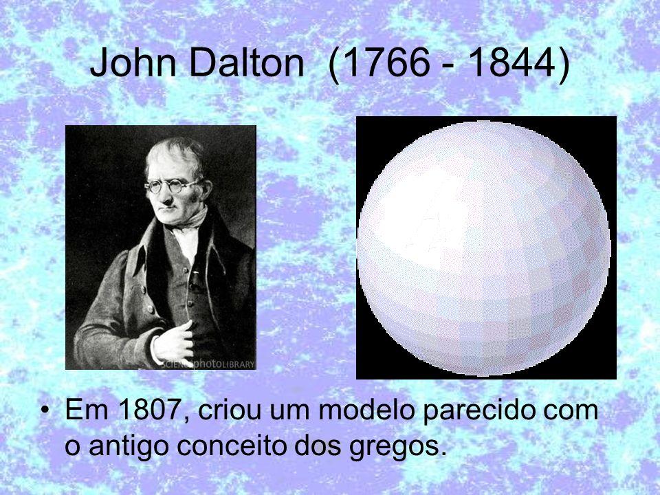 John Dalton (1766 - 1844) Em 1807, criou um modelo parecido com o antigo conceito dos gregos.
