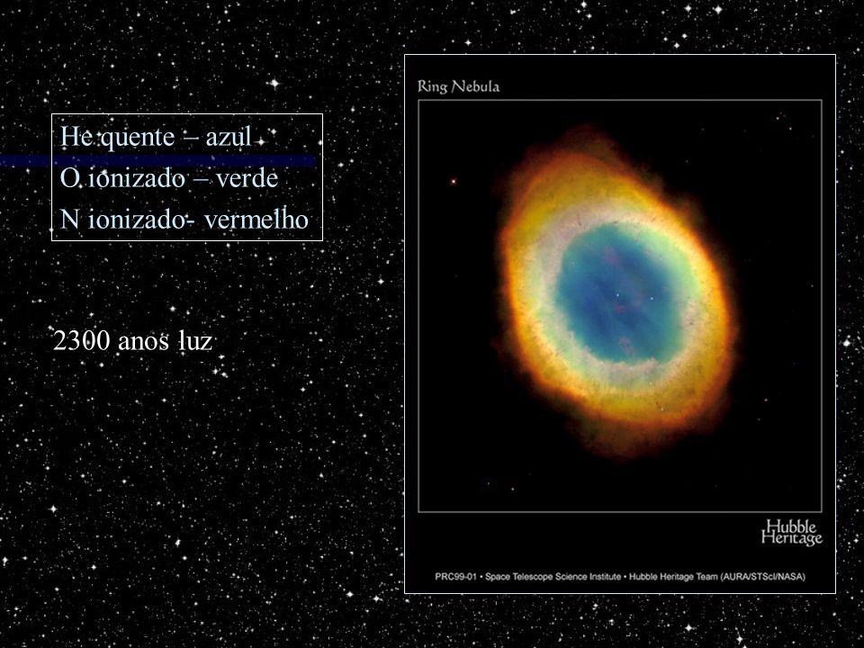 2300 anos luz He quente – azul O ionizado – verde N ionizado- vermelho