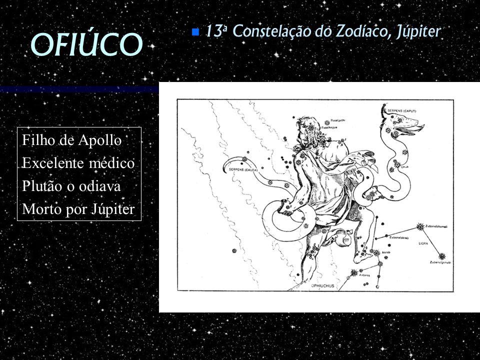 OFIÚCO 13 a Constelação do Zodíaco, Júpiter 13 a Constelação do Zodíaco, Júpiter Filho de Apollo Excelente médico Plutão o odiava Morto por Júpiter