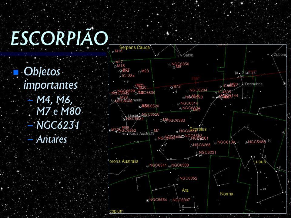 ESCORPIÃO Objetos importantes Objetos importantes – M4, M6, M7 e M80 – NGC6231 – Antares