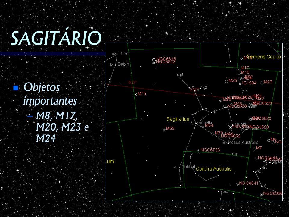 SAGITÁRIO Objetos importantes Objetos importantes – M8, M17, M20, M23 e M24