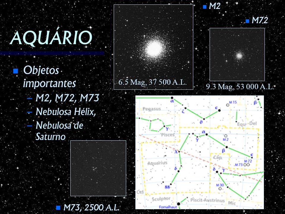 AQUÁRIO Objetos importantes Objetos importantes – M2, M72, M73 – Nebulosa Hélix, – Nebulosa de Saturno M2 M2 M72 M72 M73, 2500 A.L. M73, 2500 A.L. 6.5