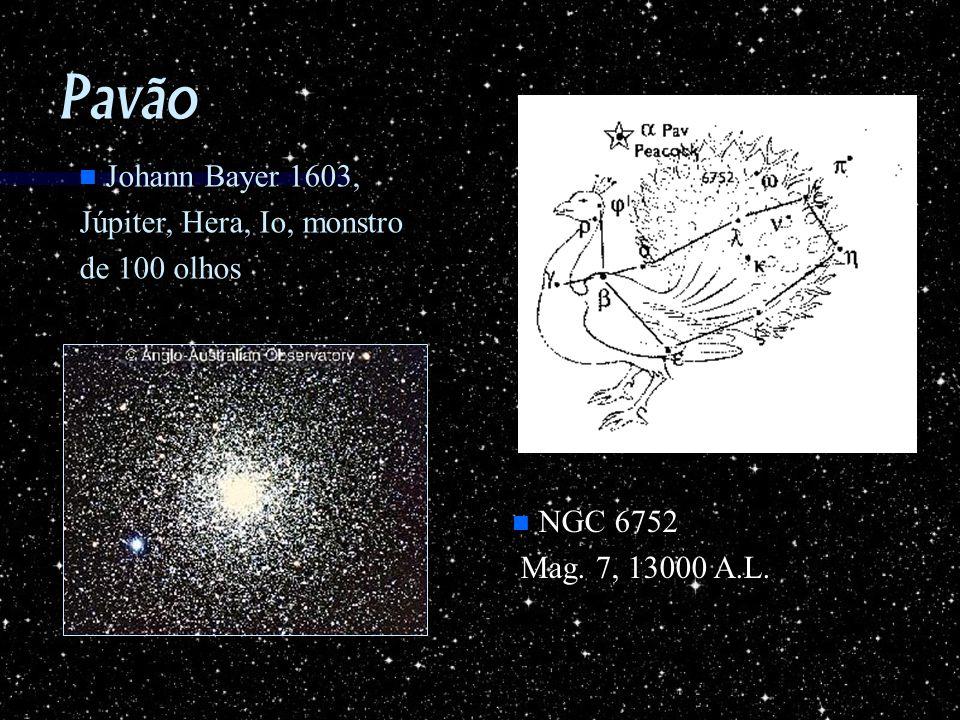 Pavão n Johann Bayer 1603, Júpiter, Hera, Io, monstro de 100 olhos n NGC 6752 Mag. 7, 13000 A.L. Mag. 7, 13000 A.L.