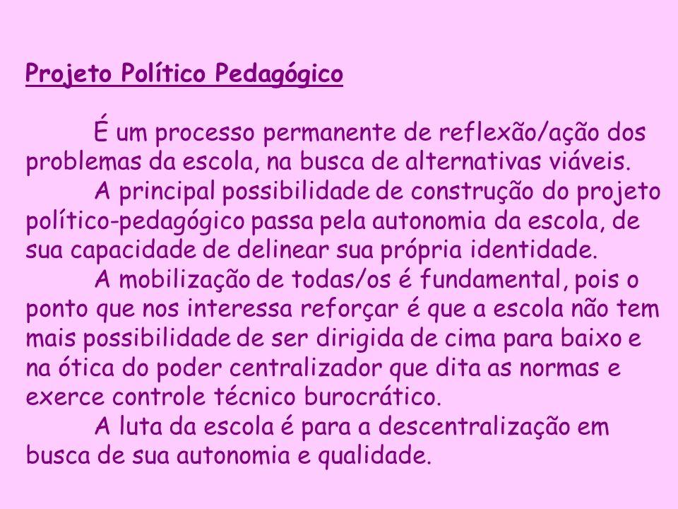 Projeto Político Pedagógico É um processo permanente de reflexão/ação dos problemas da escola, na busca de alternativas viáveis. A principal possibili