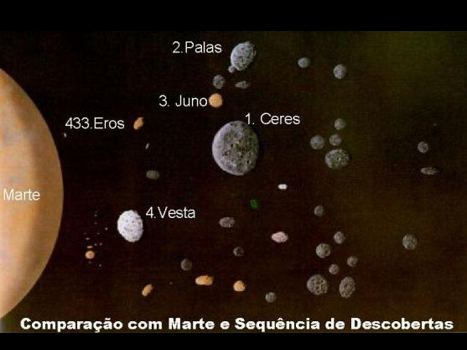Cinturão de Asteróides - 2 a 4 U.A.; - 40.000 corpos; - planeta que não se formou; - maioritariamente vazia; - 2 a 4 U.A.; - 40.000 corpos; - planeta que não se formou; - maioritariamente vazia;