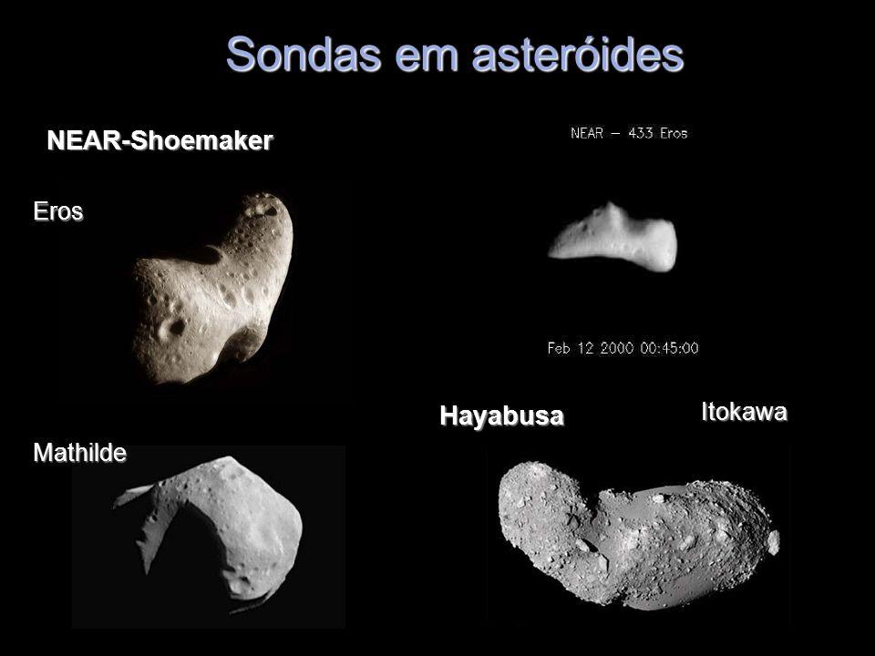 Sondas em asteróides NEAR-Shoemaker Eros Mathilde HayabusaItokawa