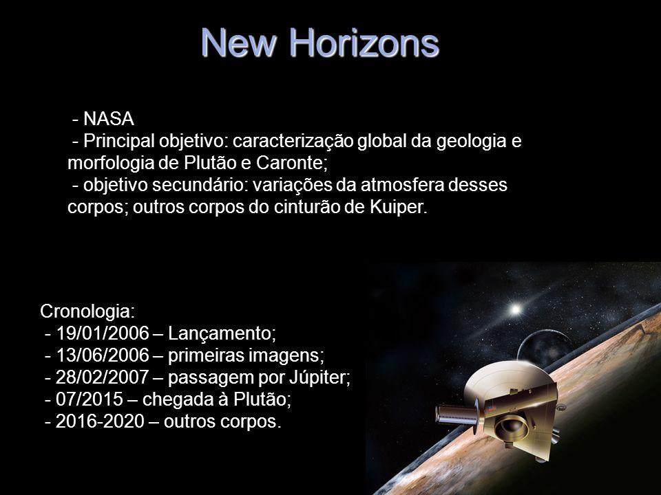 New Horizons - NASA - Principal objetivo: caracterização global da geologia e morfologia de Plutão e Caronte; - objetivo secundário: variações da atmo
