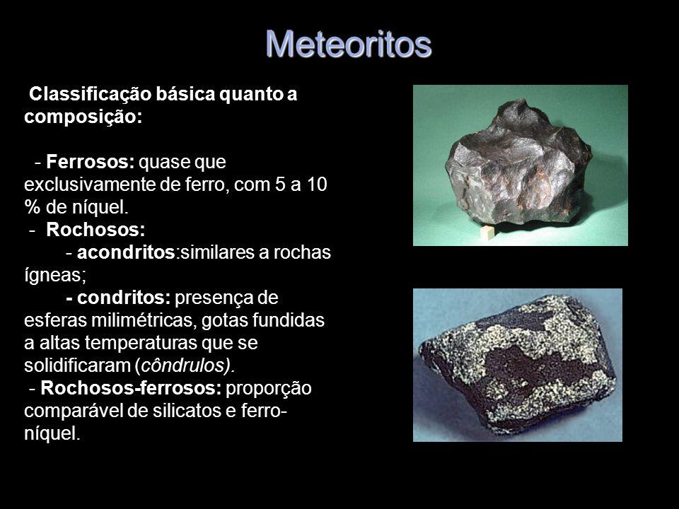 Meteoritos Classificação básica quanto a composição: - Ferrosos: quase que exclusivamente de ferro, com 5 a 10 % de níquel. - Rochosos: - acondritos:s