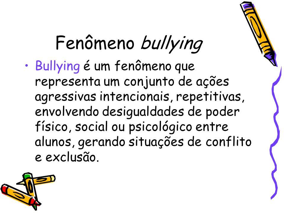 Fenômeno bullying Bullying é um fenômeno que representa um conjunto de ações agressivas intencionais, repetitivas, envolvendo desigualdades de poder f