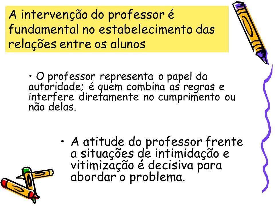 A atitude do professor frente a situações de intimidação e vitimização é decisiva para abordar o problema. A intervenção do professor é fundamental no