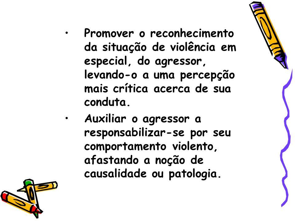 Promover o reconhecimento da situação de violência em especial, do agressor, levando-o a uma percepção mais crítica acerca de sua conduta. Auxiliar o