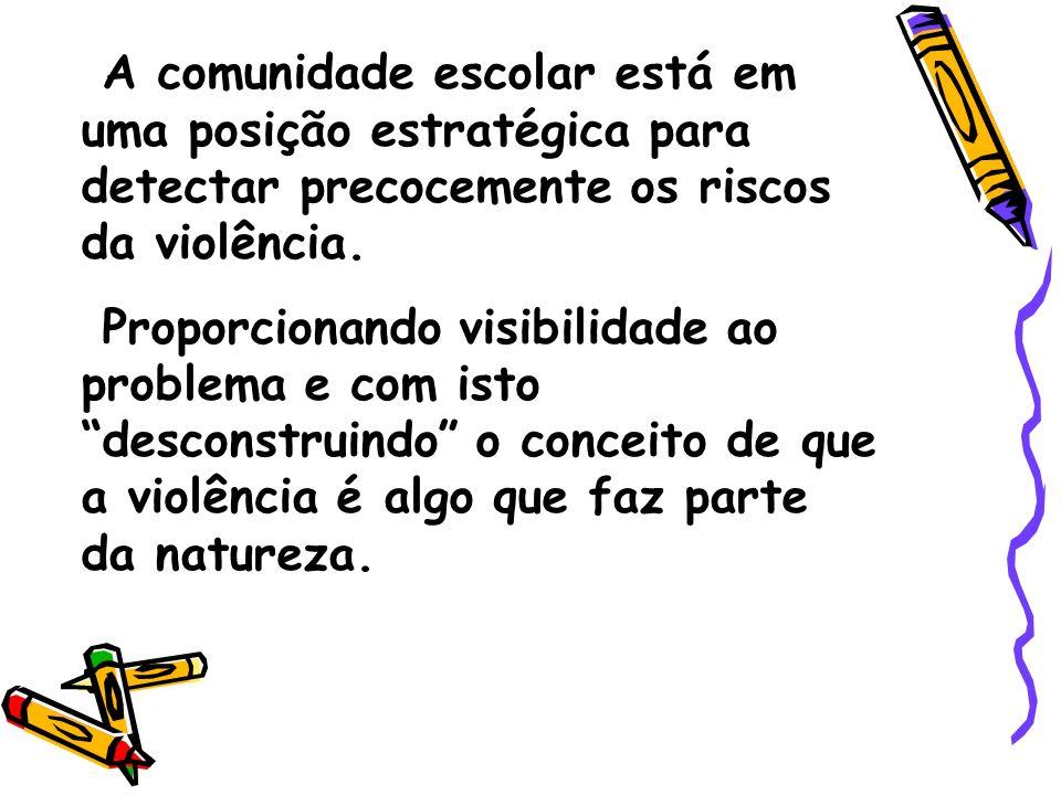 A comunidade escolar está em uma posição estratégica para detectar precocemente os riscos da violência. Proporcionando visibilidade ao problema e com