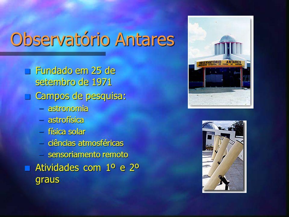 Observatório Antares n Fundado em 25 de setembro de 1971 n Campos de pesquisa: –astronomia –astrofísica –física solar –ciências atmosféricas –sensoria