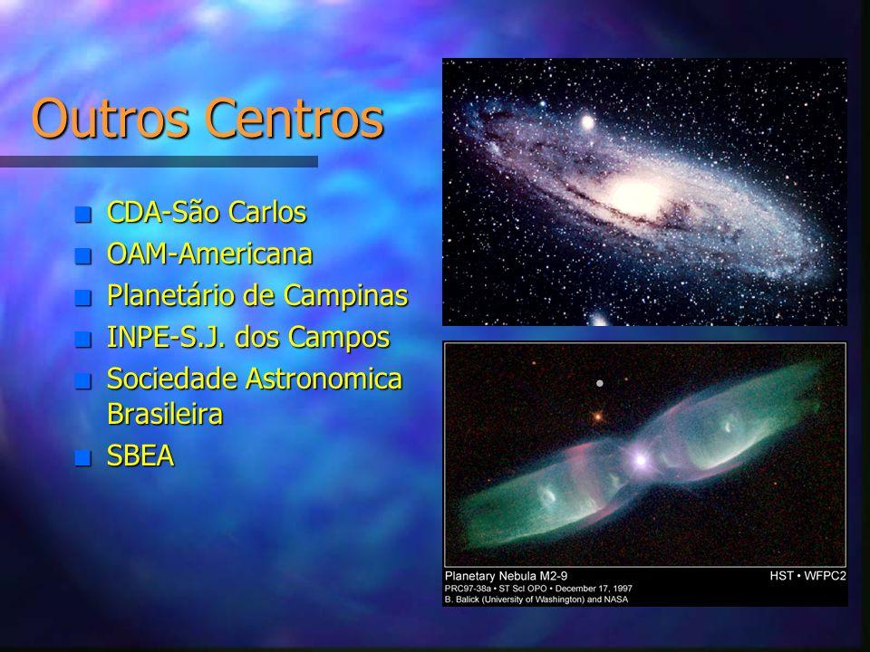 Outros Centros n CDA-São Carlos n OAM-Americana n Planetário de Campinas n INPE-S.J. dos Campos n Sociedade Astronomica Brasileira n SBEA