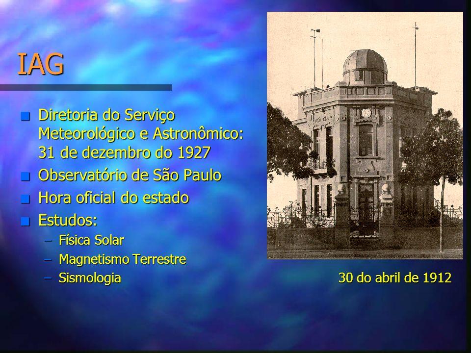 IAG n Diretoria do Serviço Meteorológico e Astronômico: 31 de dezembro do 1927 n Observatório de São Paulo n Hora oficial do estado n Estudos: –Física