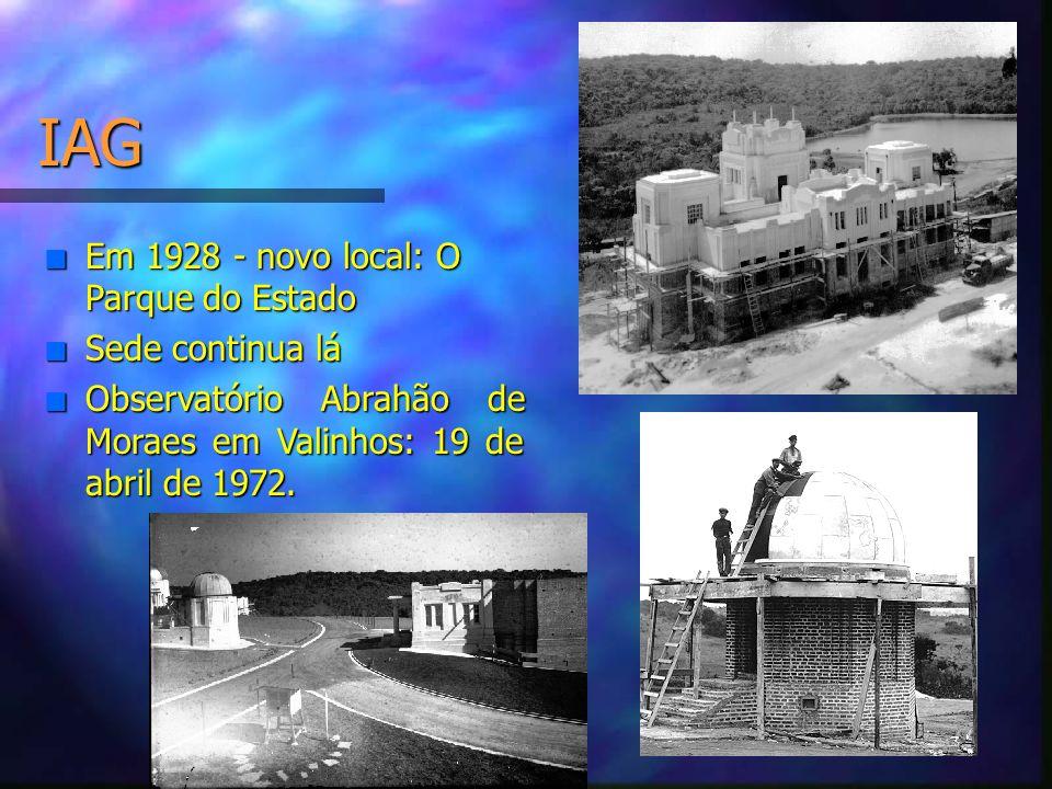 IAG n Em 1928 - novo local: O Parque do Estado n Sede continua lá n Observatório Abrahão de Moraes em Valinhos: 19 de abril de 1972.