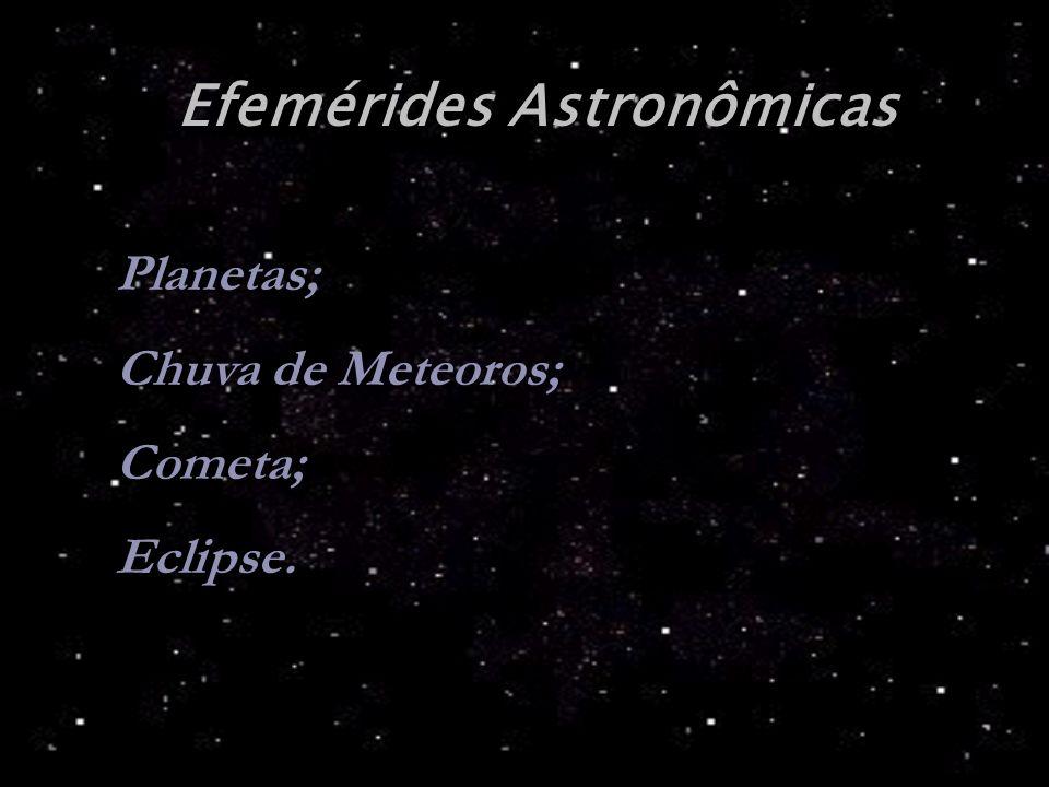 Efemérides Astronômicas Planetas; Chuva de Meteoros; Cometa; Eclipse.