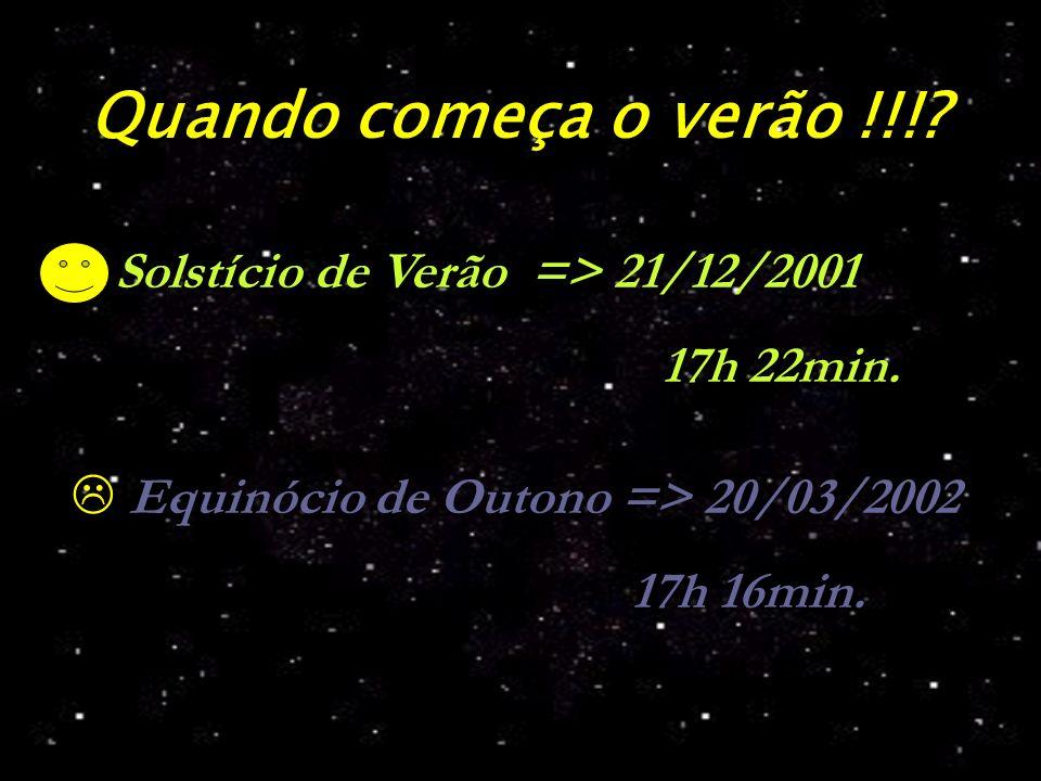 Quando começa o verão !!!? Equinócio de Outono => 20/03/2002 17h 16min. Solstício de Verão => 21/12/2001 17h 22min.