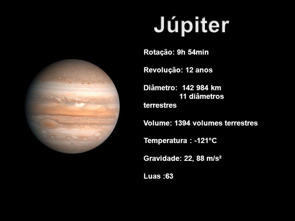 Rotação: 9h 54min Revolução: 12 anos Diâmetro: 142 984 km 11 diâmetros terrestres Volume: 1394 volumes terrestres Temperatura : -121°C Gravidade: 22,