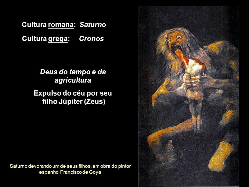 Saturno devorando um de seus filhos, em obra do pintor espanhol Francisco de Goya Cultura romana: Saturno Deus do tempo e da agricultura Cultura grega