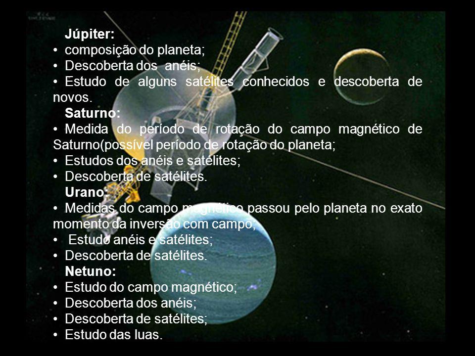 Júpiter: composição do planeta; Descoberta dos anéis; Estudo de alguns satélites conhecidos e descoberta de novos. Saturno: Medida do período de rotaç