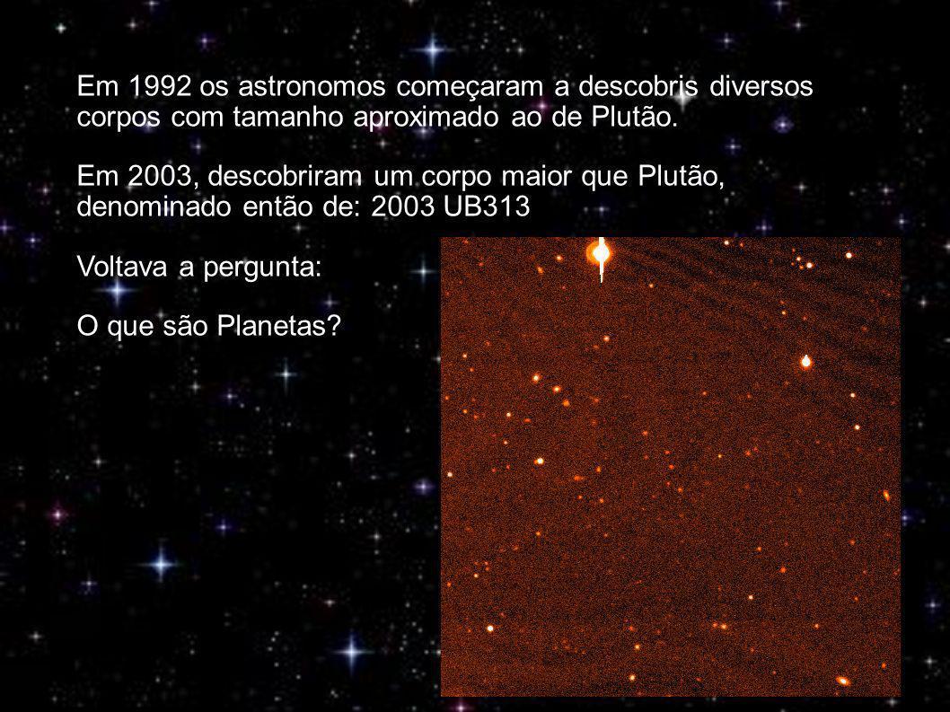 Em 1992 os astronomos começaram a descobris diversos corpos com tamanho aproximado ao de Plutão.