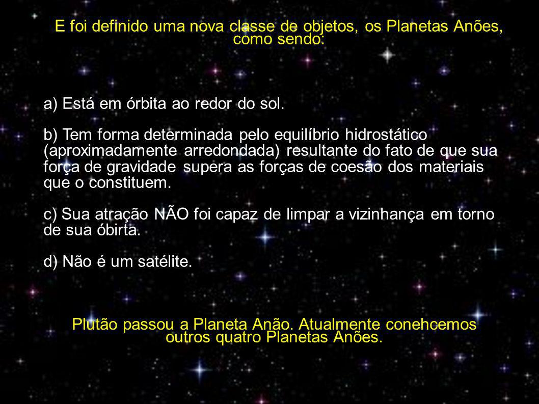 E foi definido uma nova classe de objetos, os Planetas Anões, como sendo: a) Está em órbita ao redor do sol.
