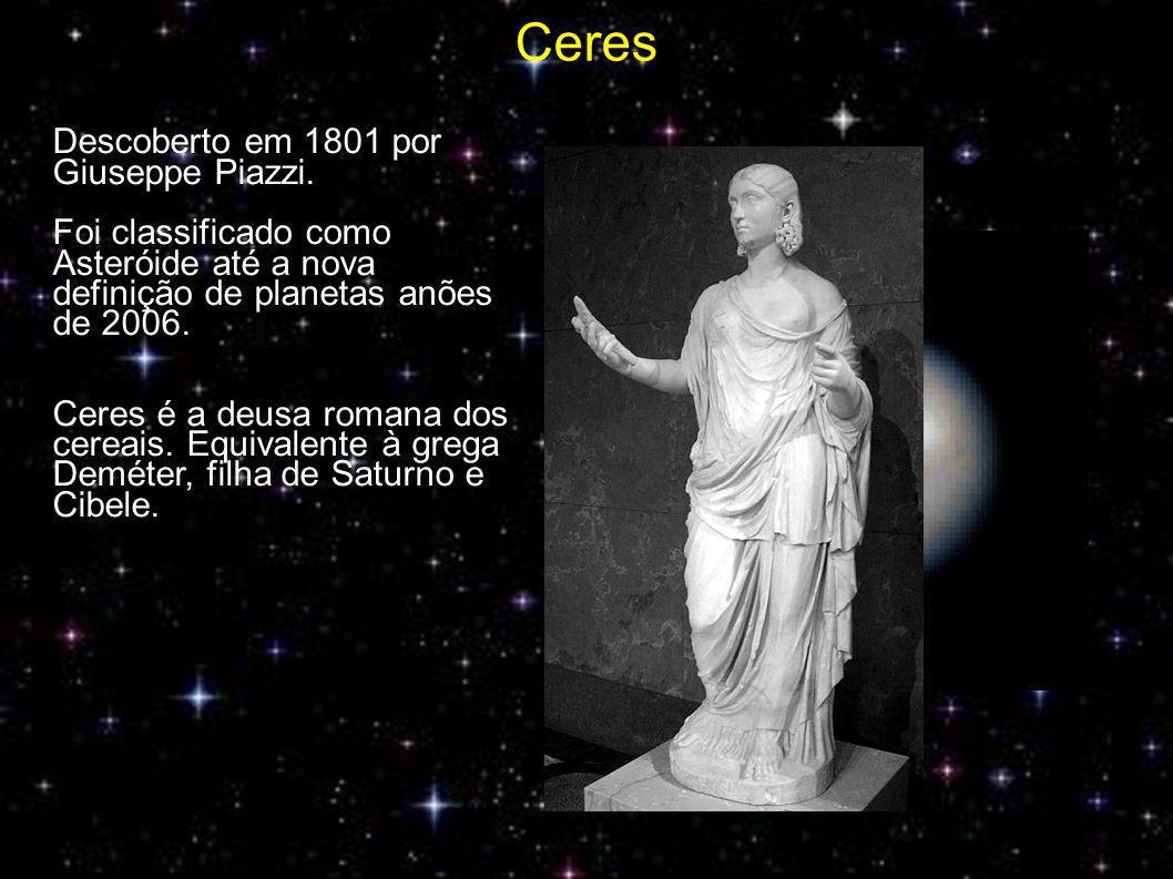 Ceres Des Descoberto em 1801 por Giuseppe Piazzi.