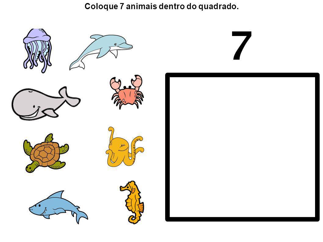 7 Coloque 7 animais dentro do quadrado.