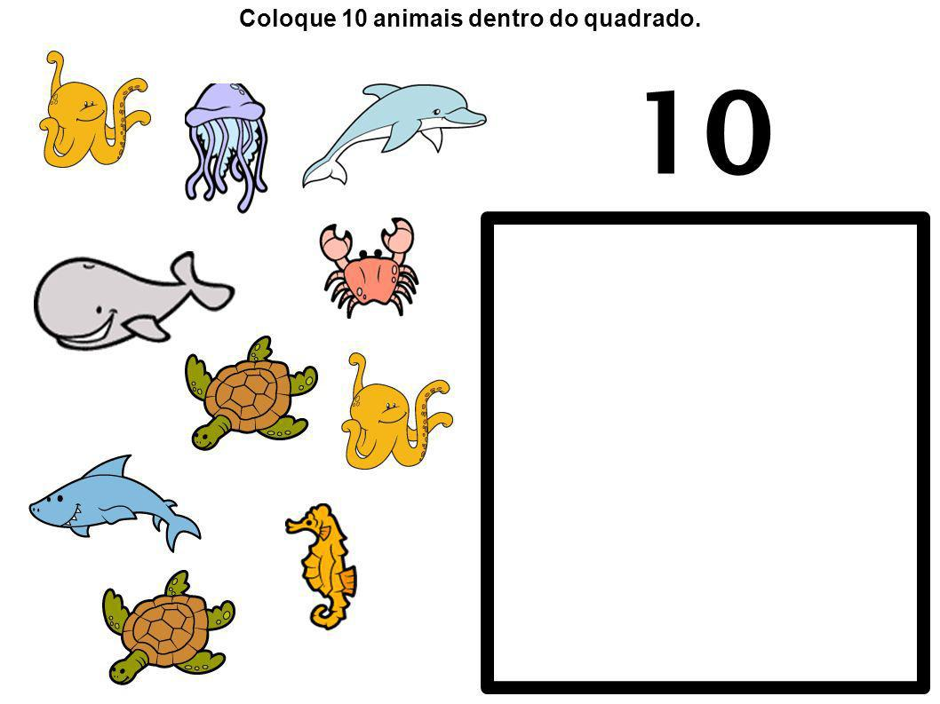 10 Coloque 10 animais dentro do quadrado.