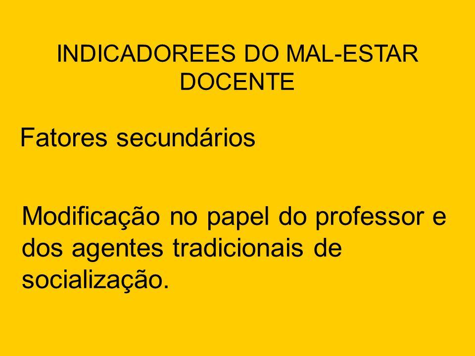 Fatores secundários INDICADOREES DO MAL-ESTAR DOCENTE Modificação no papel do professor e dos agentes tradicionais de socialização.