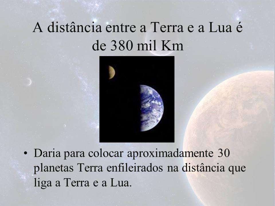 A distância entre a Terra e a Lua é de 380 mil Km Daria para colocar aproximadamente 30 planetas Terra enfileirados na distância que liga a Terra e a