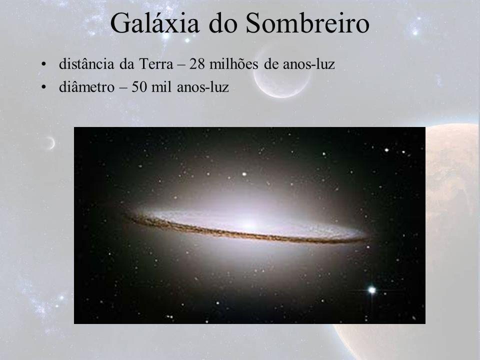 Galáxia do Sombreiro distância da Terra – 28 milhões de anos-luz diâmetro – 50 mil anos-luz