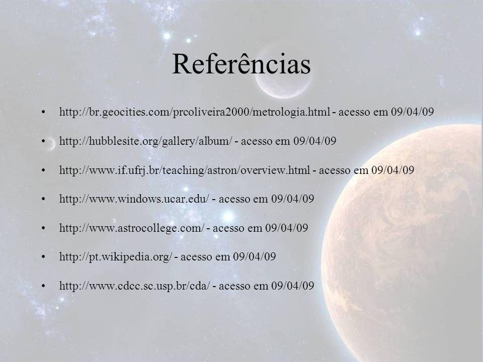 Referências http://br.geocities.com/prcoliveira2000/metrologia.html - acesso em 09/04/09 http://hubblesite.org/gallery/album/ - acesso em 09/04/09 htt
