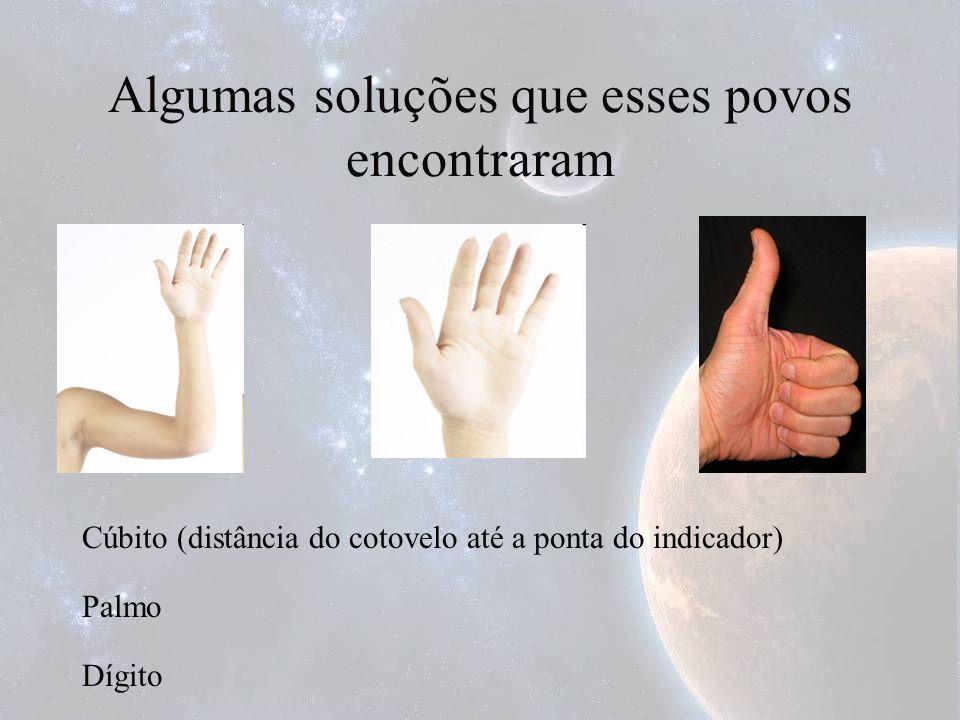 Algumas soluções que esses povos encontraram Cúbito (distância do cotovelo até a ponta do indicador) Palmo Dígito