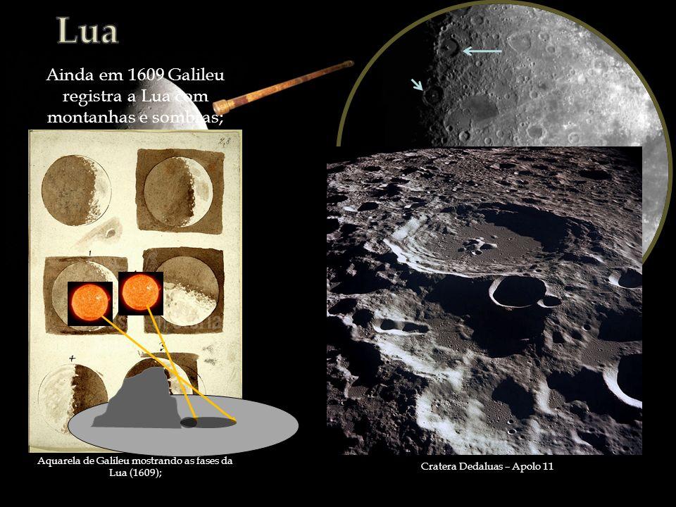 Aquarela de Galileu mostrando as fases da Lua (1609); Ainda em 1609 Galileu registra a Lua com montanhas e sombras; Cratera Dedaluas – Apolo 11
