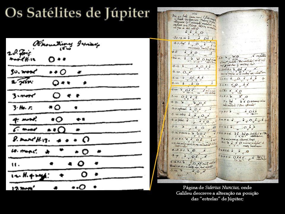 Página de Siderius Nuncius, onde Galileu descreve a alteração na posição das estrelas de Júpiter;