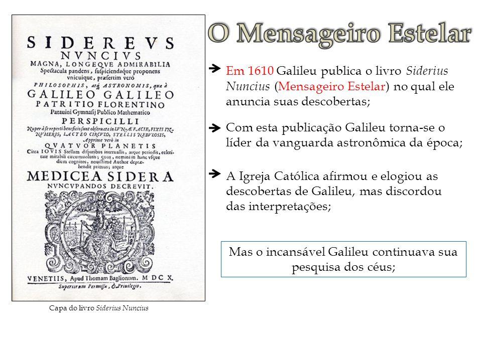 Em 1610 Galileu publica o livro Siderius Nuncius (Mensageiro Estelar) no qual ele anuncia suas descobertas; A Igreja Católica afirmou e elogiou as des