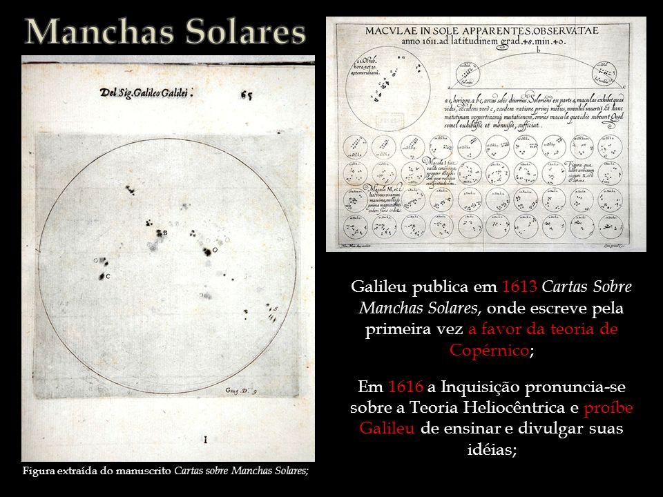 Galileu publica em 1613 Cartas Sobre Manchas Solares, onde escreve pela primeira vez a favor da teoria de Copérnico; Figura extraída do manuscrito Car
