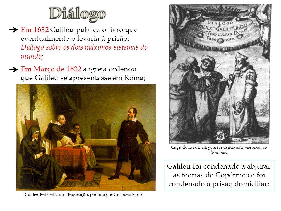 Capa do livro Diálogo sobre os dois máximos sistemas do mundo; Em 1632 Galileu publica o livro que eventualmente o levaria à prisão: Diálogo sobre os