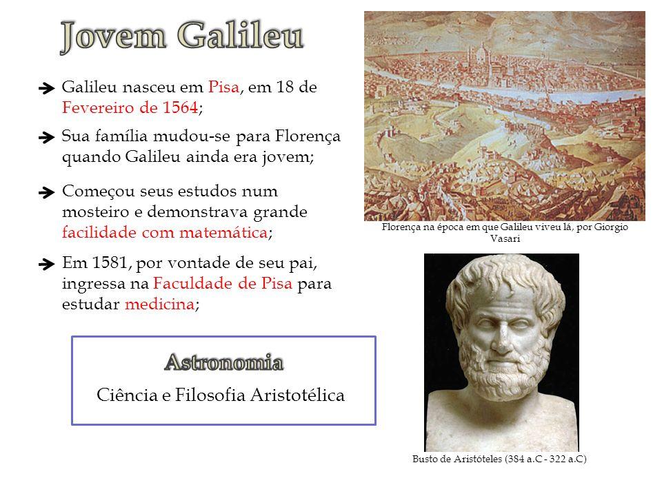 Florença na época em que Galileu viveu lá, por Giorgio Vasari Galileu nasceu em Pisa, em 18 de Fevereiro de 1564; Sua família mudou-se para Florença q